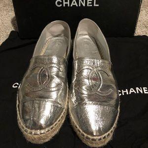 Chanel Silver Espadrilles